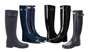 Hunter Original Refined Black and Navy Tall Boots (Sizes 6, 7, 10)