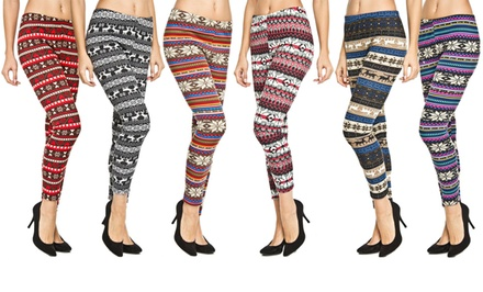 Six-Pack of Fleece-Lined, Nordic-Print Leggings