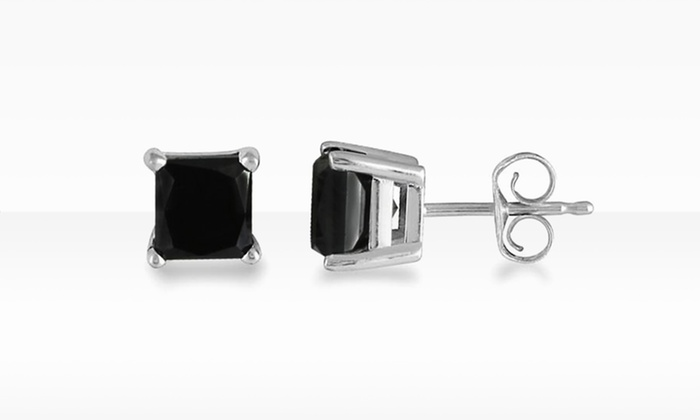 1 2 Carat Princess Cut Black Diamond Earrings