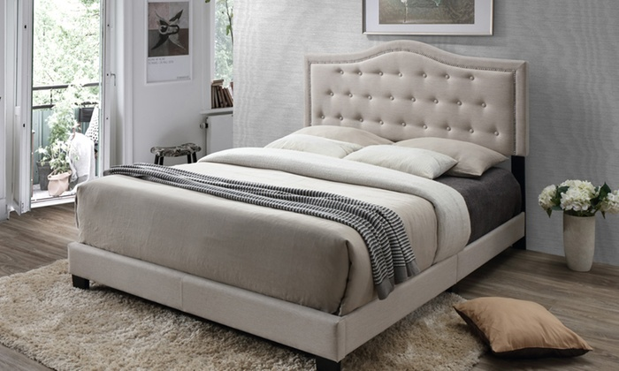 49 off on emerson fabric upholstered bed groupon goods for Beds groupon