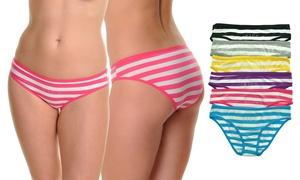 Rhinestoned Horizontal Striped Bikinis (6-Pack)