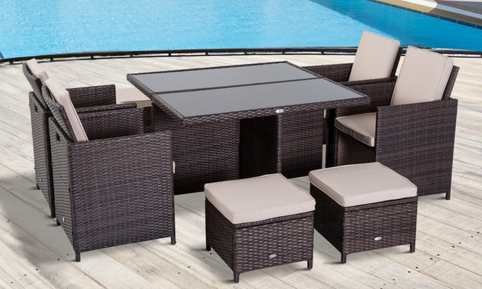 Outsunny Eight-Seater Rattan-Effect Garden Dining Furniture Set