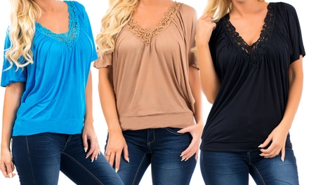 3-Pack of Women's Crochet-Trim Tops