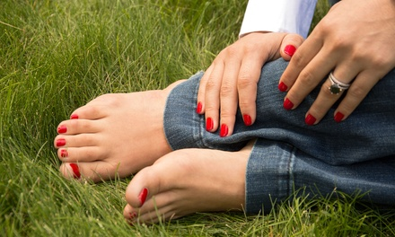 One or Three Basic Manicures and Pedicures at Hair Designs Salon (Up to 53% Off)