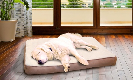 Sherpa and Suede Orthopedic Pet Mattress in Clay, Espresso, or Navy