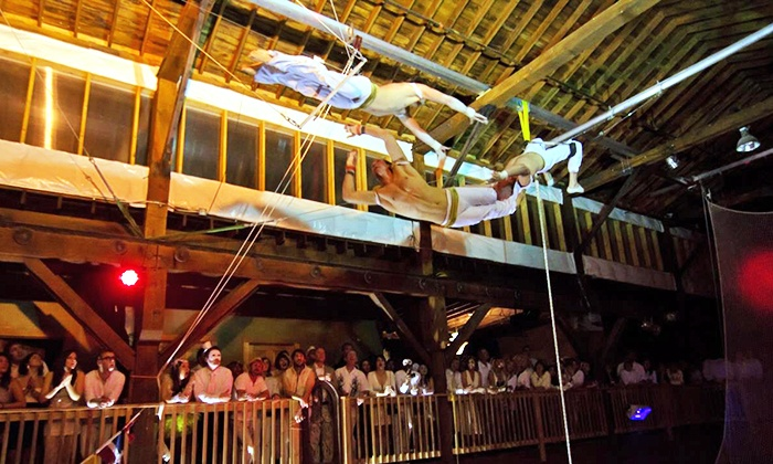 """Emerald City Trapeze Arts presents """"Pinstripes and Pin-Ups"""" - Industrial District East: Emerald City Trapeze Arts Presents """"Pinstripes and Pin-Ups"""" on May 15-17 (Up to 46% Off)"""