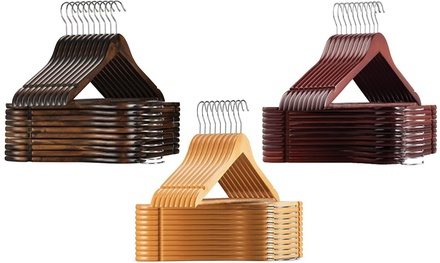 Wooden Suit Hangers with Non-Slip Pant Bar & Swivel Hook (10-, 20-, or 30-Pack)