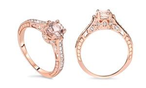 1.25 Cttw Diamond & Morganite Ring In 14k Gold - By Bliss Diamond
