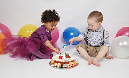 Kids Cake Smash or Bump to Baby Photoshoot With Prints from £17 at Cute Angels (Up to 89% Off)