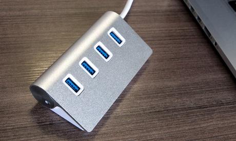 1, 2 o 4 hubs usb de aluminio con 4 puertos usb