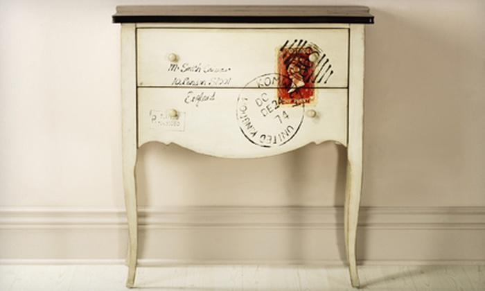 Home Decorators Collection: $259 for Hand-Painted International Post-Themed Cabinet. Shipping Included ($459 Total Value).