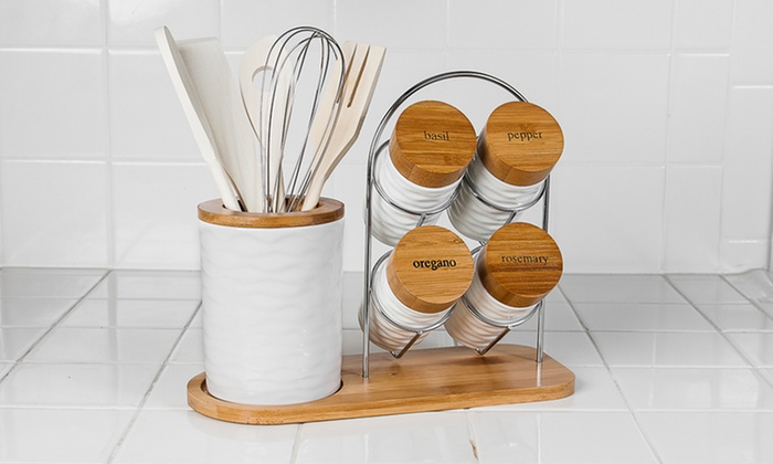 Countertop Spice Rack Canada : ... with Spice Rack: 15-Piece Porcelain/Bamboo Utensil Set with Spice Rack