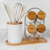 15-Piece Porcelain/Bamboo Utensil Set with Spice Rack