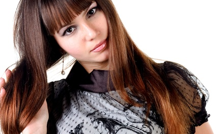 Haircut with Options for Partial Highlights or Single-Process Color at Ria's Salon (Up to 43% Off)