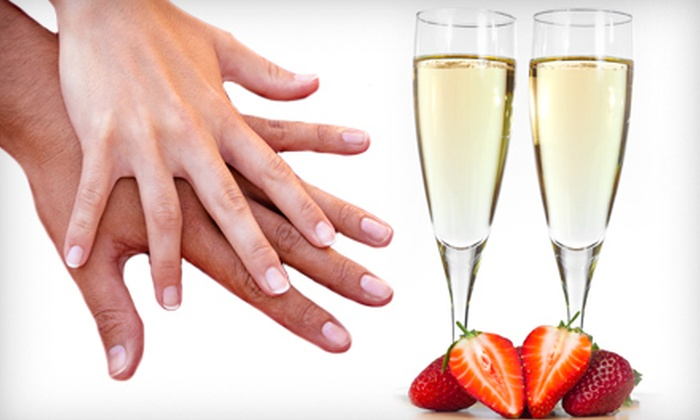 L'amour Nails - Constellation Pointe: Mani-Pedi with Strawberries and Champagne for One or Two at L'amour Nails (Up to 55% Off)