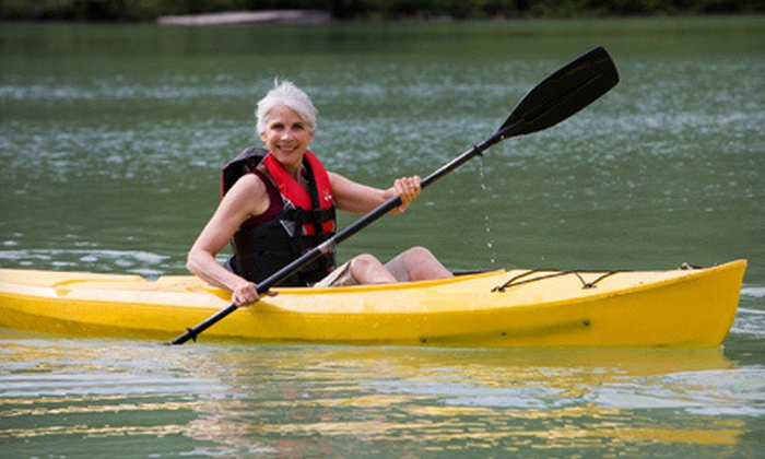 High Trails Canoe and Kayak Outfitters - Garland West Industrial Park: One-Day Rental of a Solo or Tandem Kayak or Two Solo Kayaks at High Trails Canoe and Kayak Outfitters (Half Off)