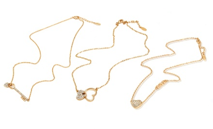 18K Gold-Plated Necklaces with Swarovski Crystals