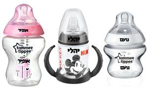 שי-לי לתינוק: בקבוק ממותג לתינוקות של Tommee Tippee או NUK עם הטבעת שם עמידה בהרתחה וסטרליזטור!