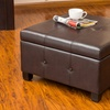 Tufted Bonded Leather Storage Ottoman