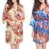 Pretty Bash Women's Floral Satin Robe. Plus Sizes Available.