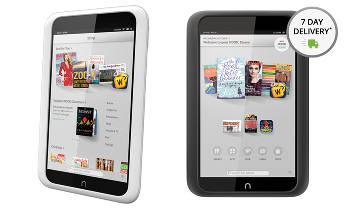 """Nook HD 8GB 7"""" Tablet: Nook HD 8GB 7"""" Tablet in Black or White with Google Play (Manufacturer Refurbished). Free Returns."""