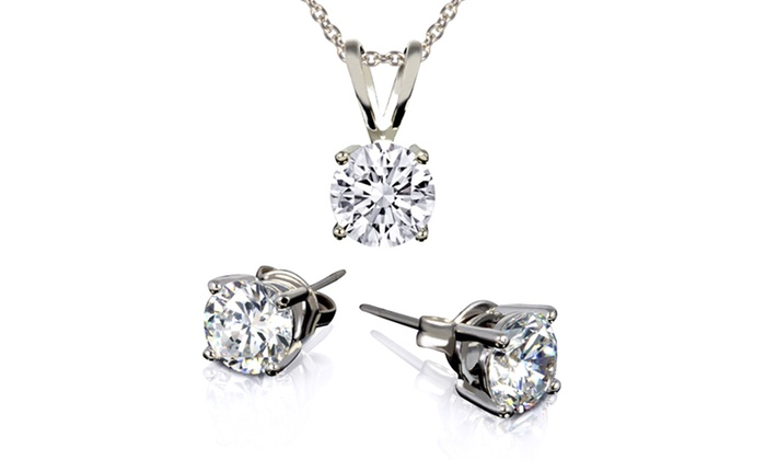 3CTW CZ Pendant and Earring Set: 3CTW CZ Pendant and Earring Set. Multiple Colors Available. Free Returns.