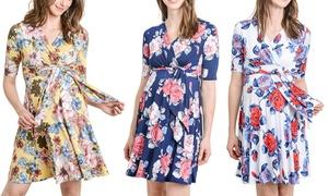 Women's Maternity Nursing Short-Sleeve Wrap Dress