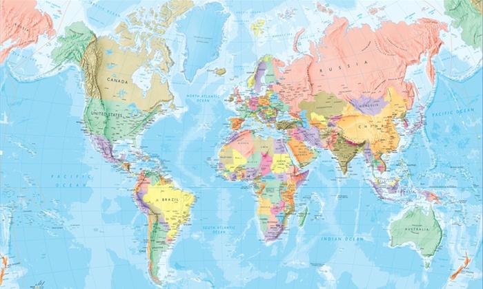 Giant world map mural groupon goods for Blue world map mural