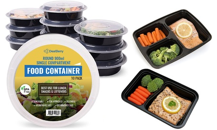 10Pack of Round Or Compartment Reusable Plastic Food Containers with Lids