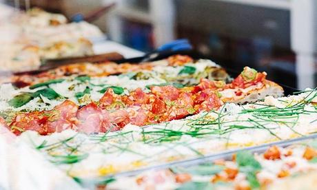 6 o 12 porciones de pizza al corte a elegir con 2 o 4 bebidas desde 10,95 € en Buoni Forno di Pizze