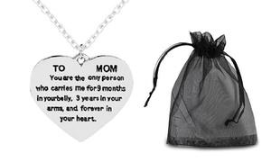 """Collier et cœur message """"To Mom"""""""