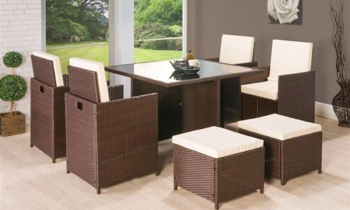 Groupon Goods Global GmbH  Nine Piece Cube PE Rattan Garden Furniture Set. 77  Off 9 Piece Rattan Garden Furniture   Groupon