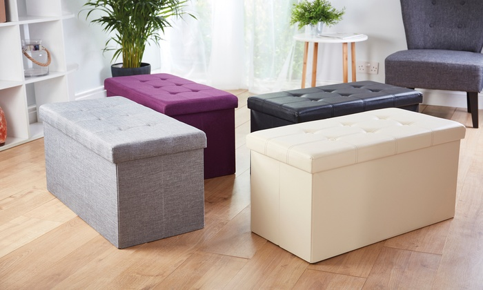 Faux Leather or Fabric Folding Ottoman Storage Box from £19.99