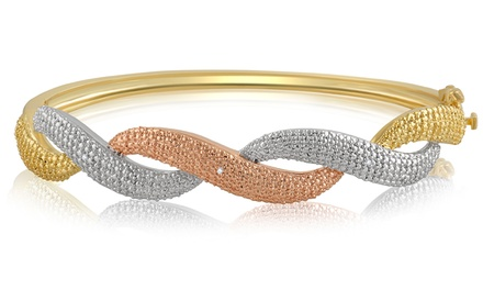 18K Gold Plated Diamond Accent Overlapping Bangle by Brilliant Diamond