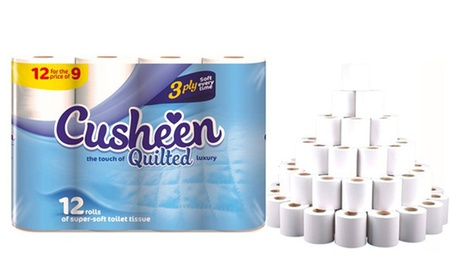 60 or 120 Rolls of Cusheen Quilted Three-Ply White Toilet Tissues