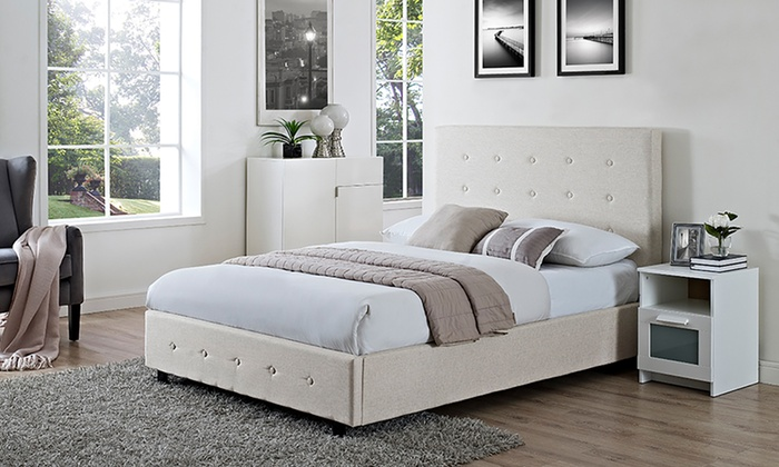 Double or King Verona Fabric Bedframe with Optional Orthopaedic Mattress