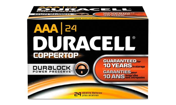 24-Pack of Duracell CopperTop Alkaline Batteries: 24-Pack of Duracell CopperTop AA or AAA Alkaline Batteries. Free Returns.