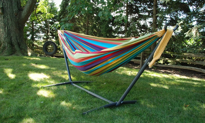 Vivere Double Hammock with Stand: $99.99 for a Vivere Double Tropical Hammock with Stand ($159.97 List Price). Free Shipping and Returns.
