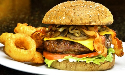 Pizza, Burgers, and Wings at Red Elephant Pizza and Grill (Up to 40% Off). Three Options Available.