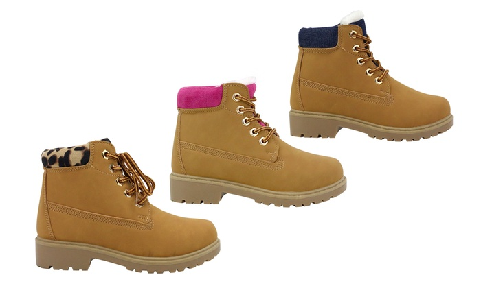 OMGirl Girls' Lace-Up Work Boots
