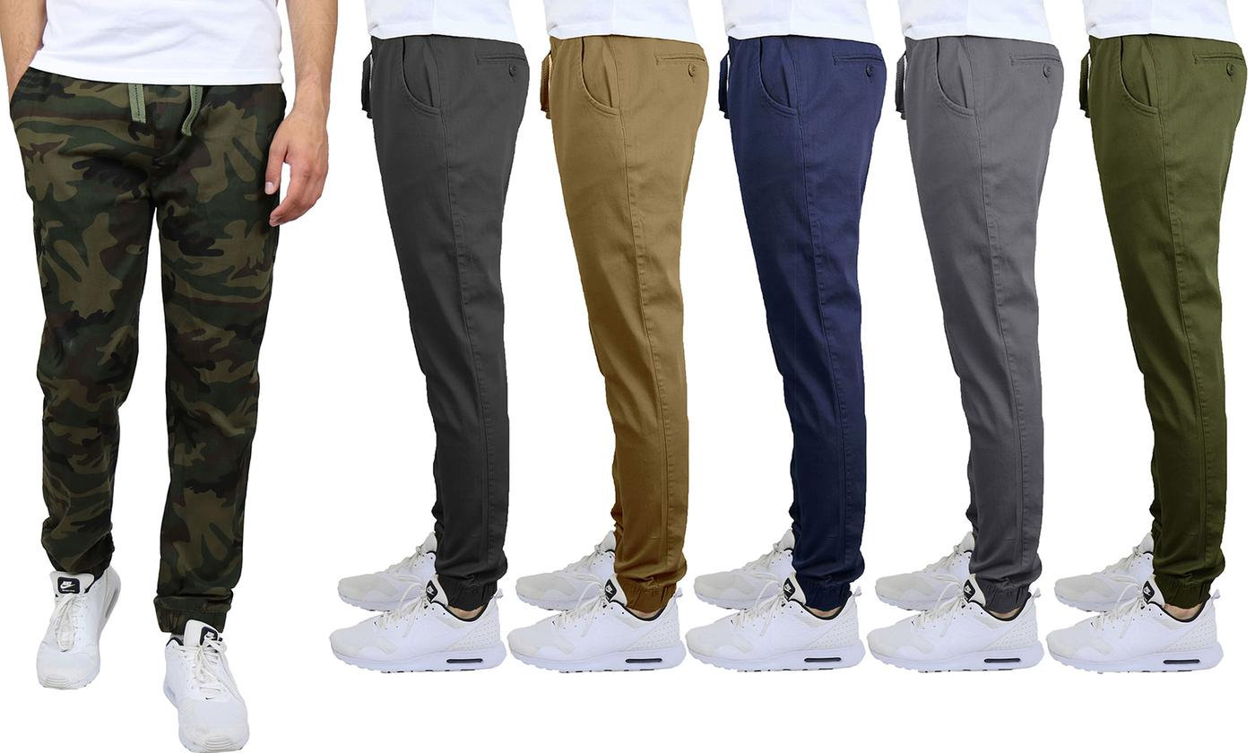 Galaxy By Harvic Mens Cotton-Stretch Twill Joggers & Chinos