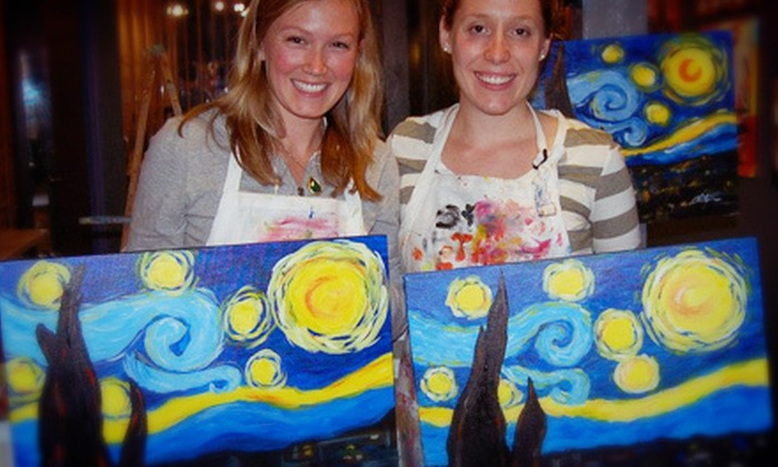 The Funky Paintbrush - Woodstock: One or Three Two-Hour BYOB Adult Painting Classes at The Funky Paintbrush (Up to 55% Off)