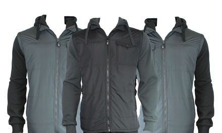 Men's Hooded Vest and Knit Sleeved Jacket