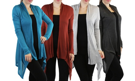 Long Knit Asymmetrical Hem Women's Cardigan
