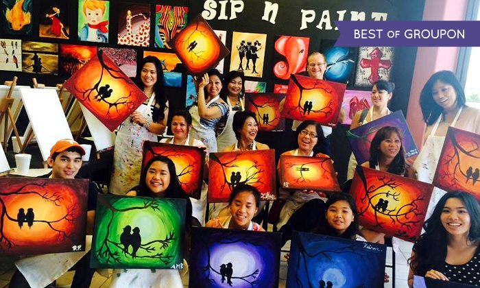 Byob painting class valley sip 39 n paint groupon for Sip and paint