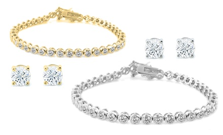 2-Piece Bezel Tennis Bracelet and Stud Earrings Set with Swarovski Elements