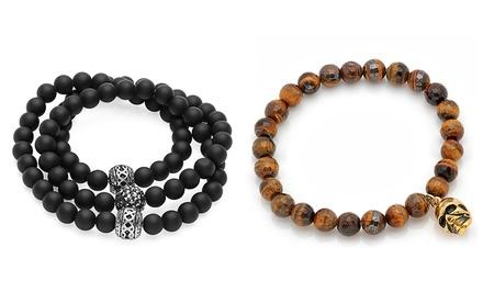 Men's Black or Tiger-Eye Beaded Bracelets or Necklace/Bracelets for $19.99–$23.99