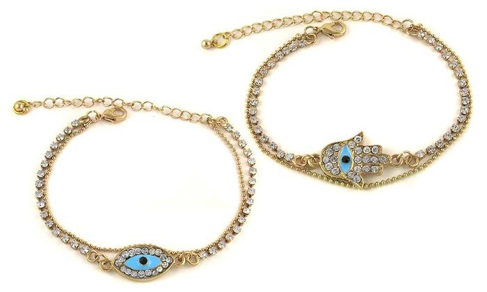 Hamsa or Evil Eye Austrian Crystal Anklet by Mina Bloom: Hamsa or Evil Eye Austrian Crystal Anklet by Mina Bloom