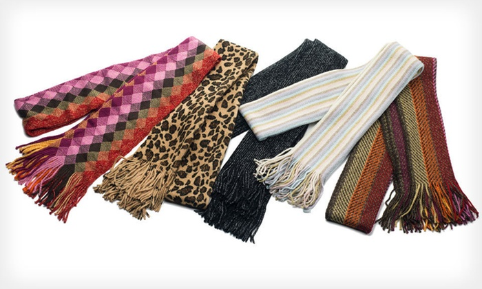 Cejon Muffler Scarves: Cejon Women's Metallic Acrylic Muffler Scarves (Up to 71% Off). Multiple Colours Available.