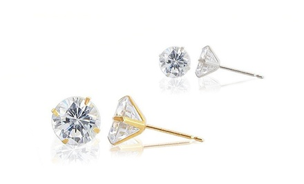 Solid 14K Gold or White Swarovski Elements Stud Earrings. Multiple Options Available From $19.99–$29.99.